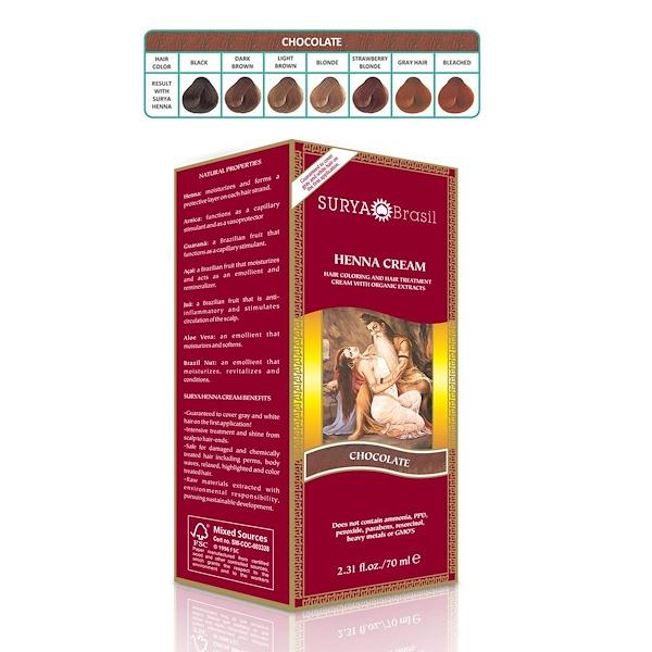 Surya Brasil, Brasil Cream, Hair Coloring & Hair Treatment, Chocolate, 70 мл (Discontinued Item)