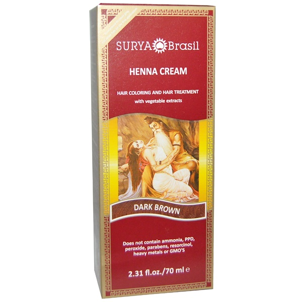 Surya Brasil, Henna Cream, Hair Coloring and Hair Treatment, Dark Brown, 2.31 fl oz (70 ml) (Discontinued Item)