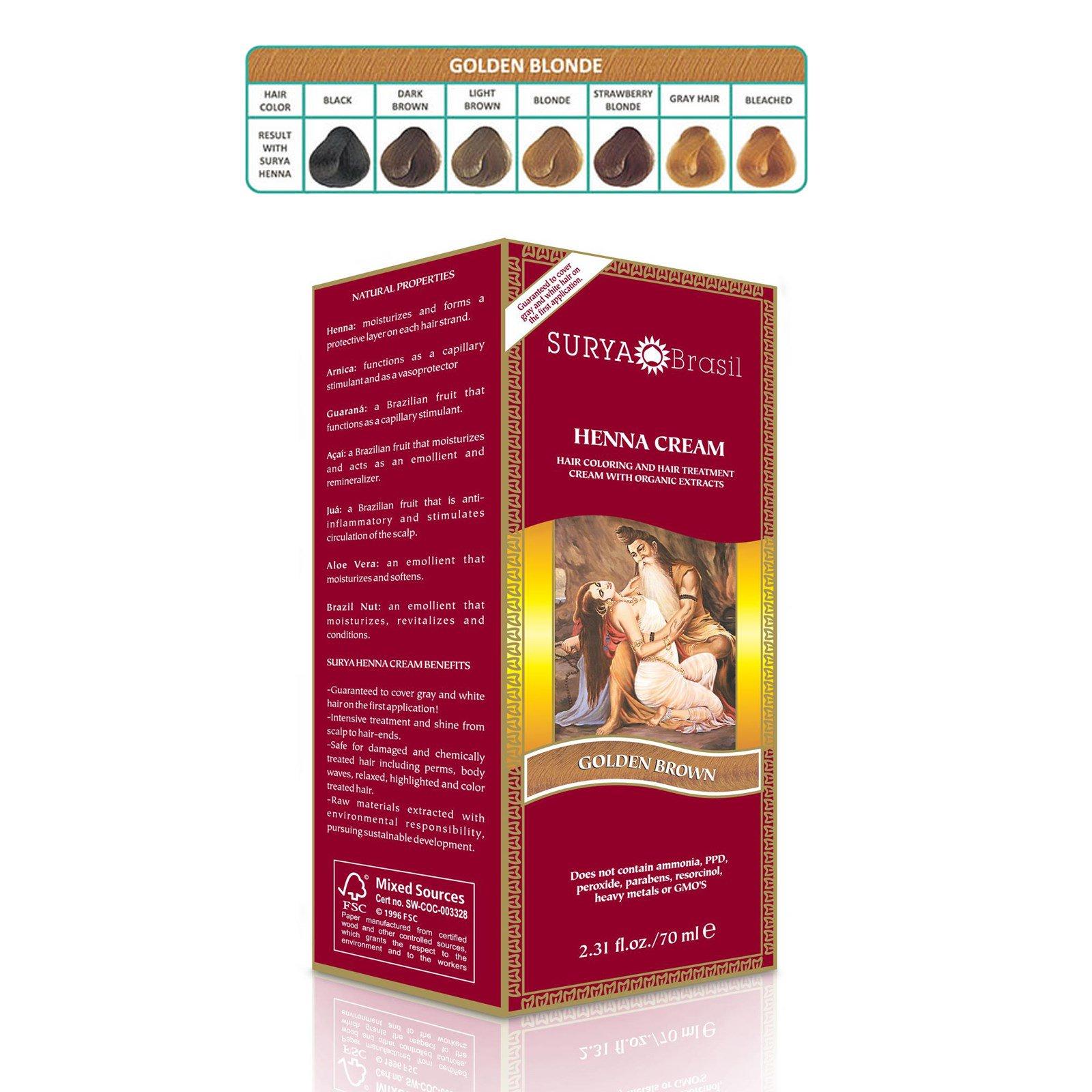 Surya Henna Brasil Cream Hair Coloring Hair Treatment Golden