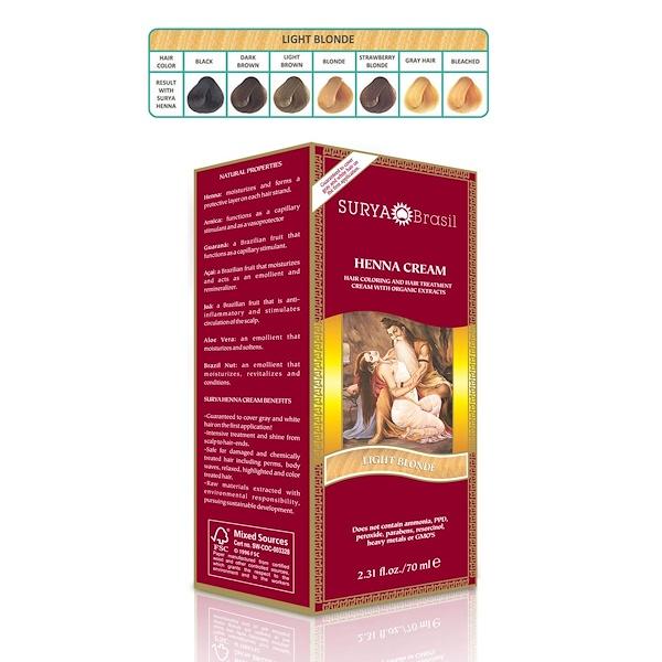 Surya Brasil, Brasil Cream, Hair Coloring & Hair Treatment, Light Blonde, 2.31 fl oz (70 ml) (Discontinued Item)