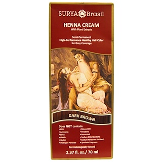 Surya Henna, Henna Cream, High-Performance Healthy Hair Color for Grey Coverage, Dark Brown, 2.37 fl oz (70 ml)
