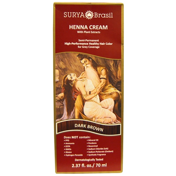 Surya Brasil, Henna Cream, High-Performance Healthy Hair Color for Grey Coverage, Dark Brown, 2.37 fl oz (70 ml)