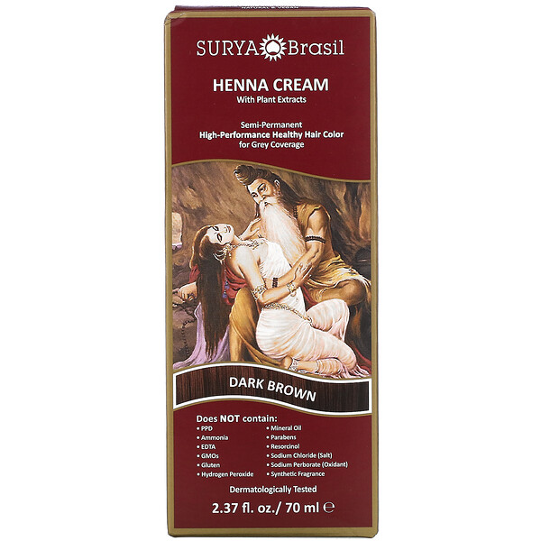 Henna Cream, High-Performance Healthy Hair Color for Grey Coverage, Dark Brown, 2.37 fl oz (70 ml)