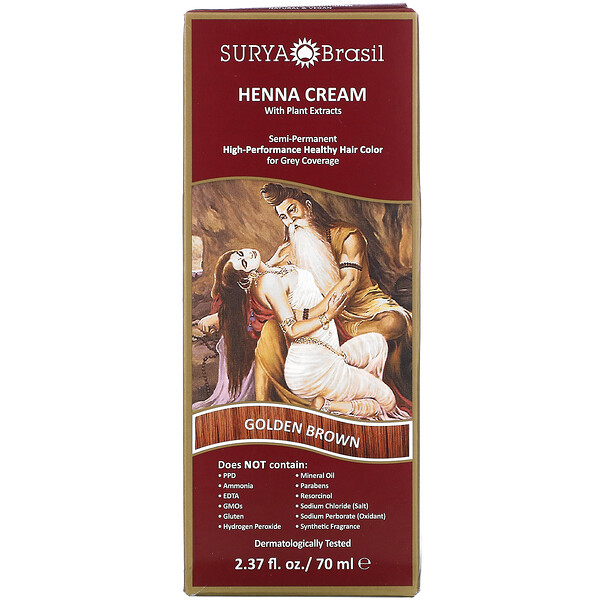 Surya Brasil, Henna Cream, High-Performance Healthy Hair Color for Grey Coverage, Golden Brown, 2.37 fl oz (70 ml)