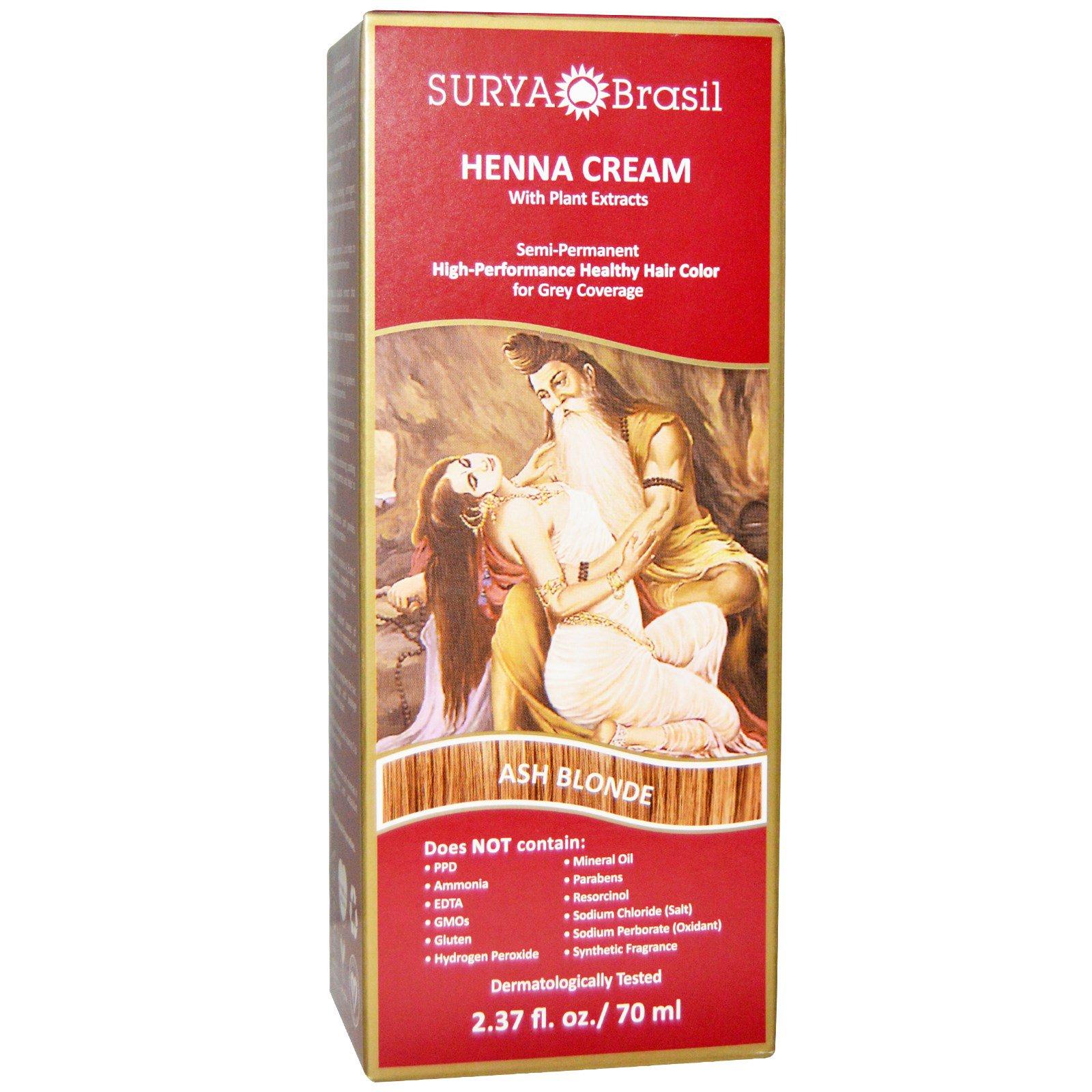 Surya Henna, Surya Henna, краска для волос и кондиционер, пепельно-русый, 2,37 жидких унций (70 мл)