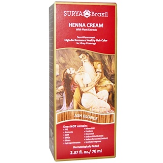 Surya Brasil, Henna Cream, Hair Color and Conditioner, Ash Blonde, 2.37 fl oz (70 ml)