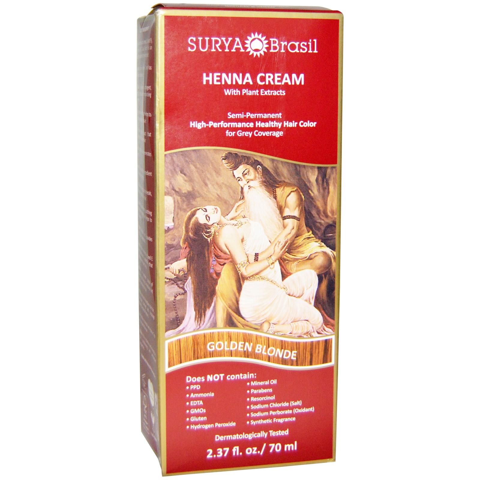 Surya Henna, Surya Henna, эффективная здоровая хна для седоватых волос, золотисто-русый, 2,37 жидких унций (70 мл)
