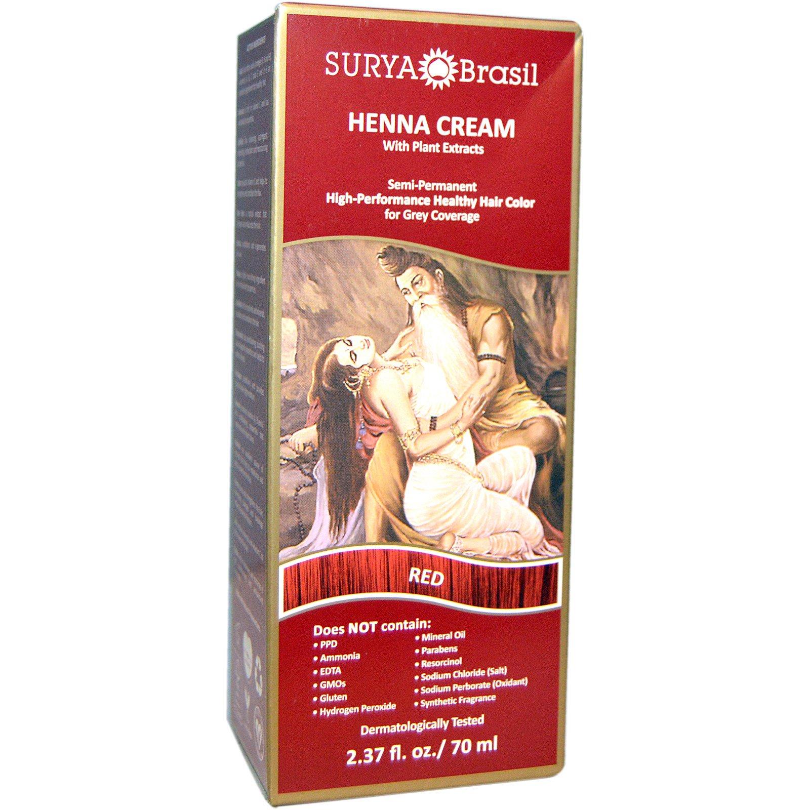 Surya Henna, Крем с хной, Окрашивание & кондиционирование волос, Красный, 2.37унции (70 мл)