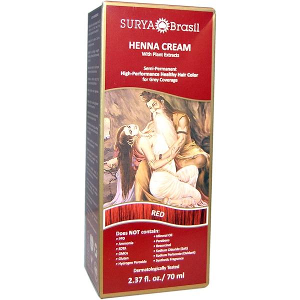 Surya Brasil, Henna Cream, Hair Color & Conditioner Treatment, Red, 2.37 fl oz (70 ml)