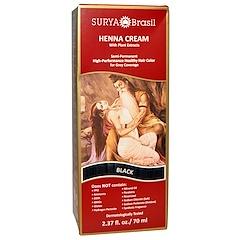 Surya Brasil, Henna Cream, Hair Color and Conditioner, Black, 2.37 fl oz (70 ml)