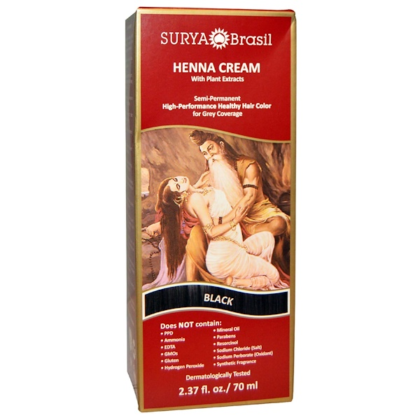 Henna Cream, Hair Color and Conditioner, Black, 2.37 fl oz (70 ml)