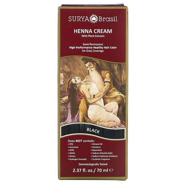 Surya Brasil, Henna Cream, Hair Color and Conditioner, Black, 2.37 fl oz (70 ml)