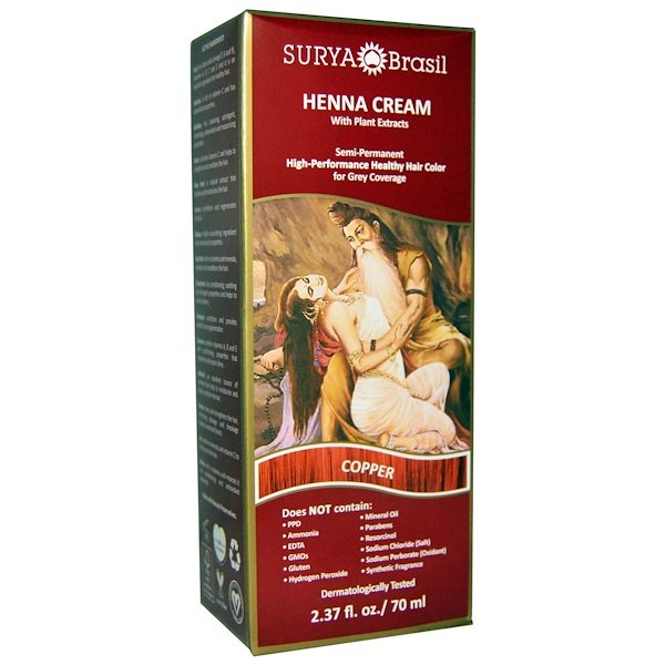 Surya Brasil, Henna Cream, Hair Color, Copper, 2.37 fl oz (70 ml)