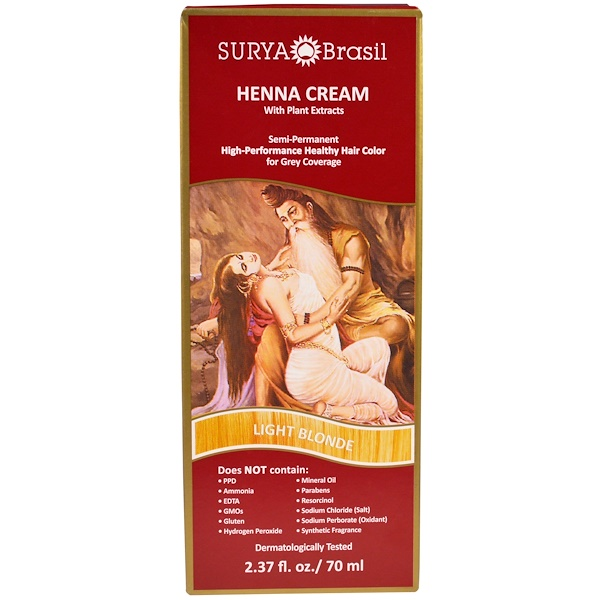 Surya Brasil, Henna Cream, High-Performance Healthy Hair Color for Grey Coverage, Light Blonde,  2.37 fl oz (70 ml)