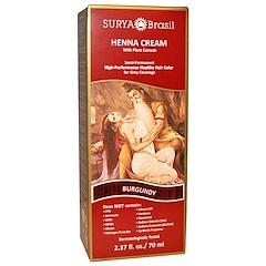 Surya Henna, ヘナクリーム、 ヘアカラリング & コンディショニング トリートメント、 バーガンディ、 2.37 fl oz (70 ml)