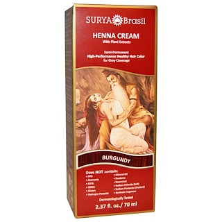 Surya Brasil, Henna Cream, Hair Coloring & Conditioning Treatment, Burgundy, 2.37 fl oz (70 ml)