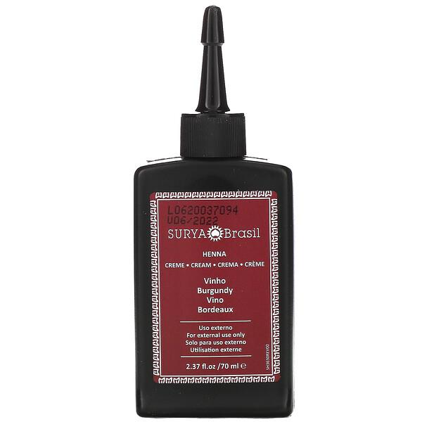 Henna Cream, Hair Coloring & Conditioning Treatment, Burgundy, 2.37 fl oz (70 ml)