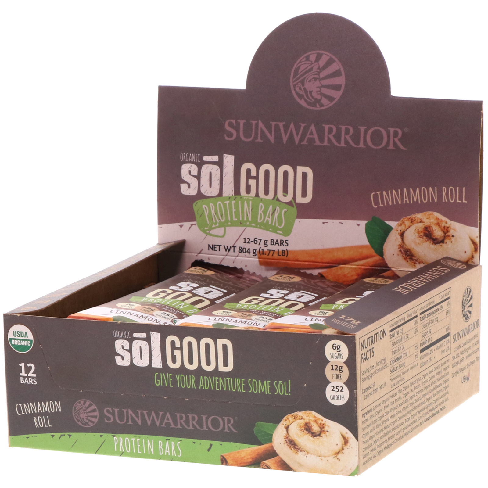 Sunwarrior, Organic Sol Good Protein Bars, Cinnamon Roll, 12