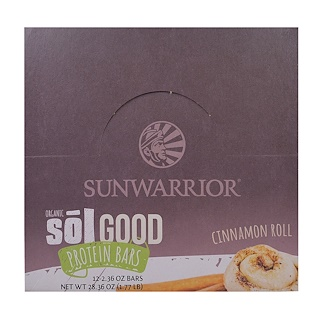 Sunwarrior, Organic Sol Good Protein Bars, Cinnamon Roll, 12 Bars, 2.36 oz (67 g) Each