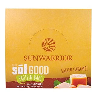 Sunwarrior, Organic Sol Good Protein Bars, Salted Caramel, 12 Bars, 2.33 oz (66 g) Each