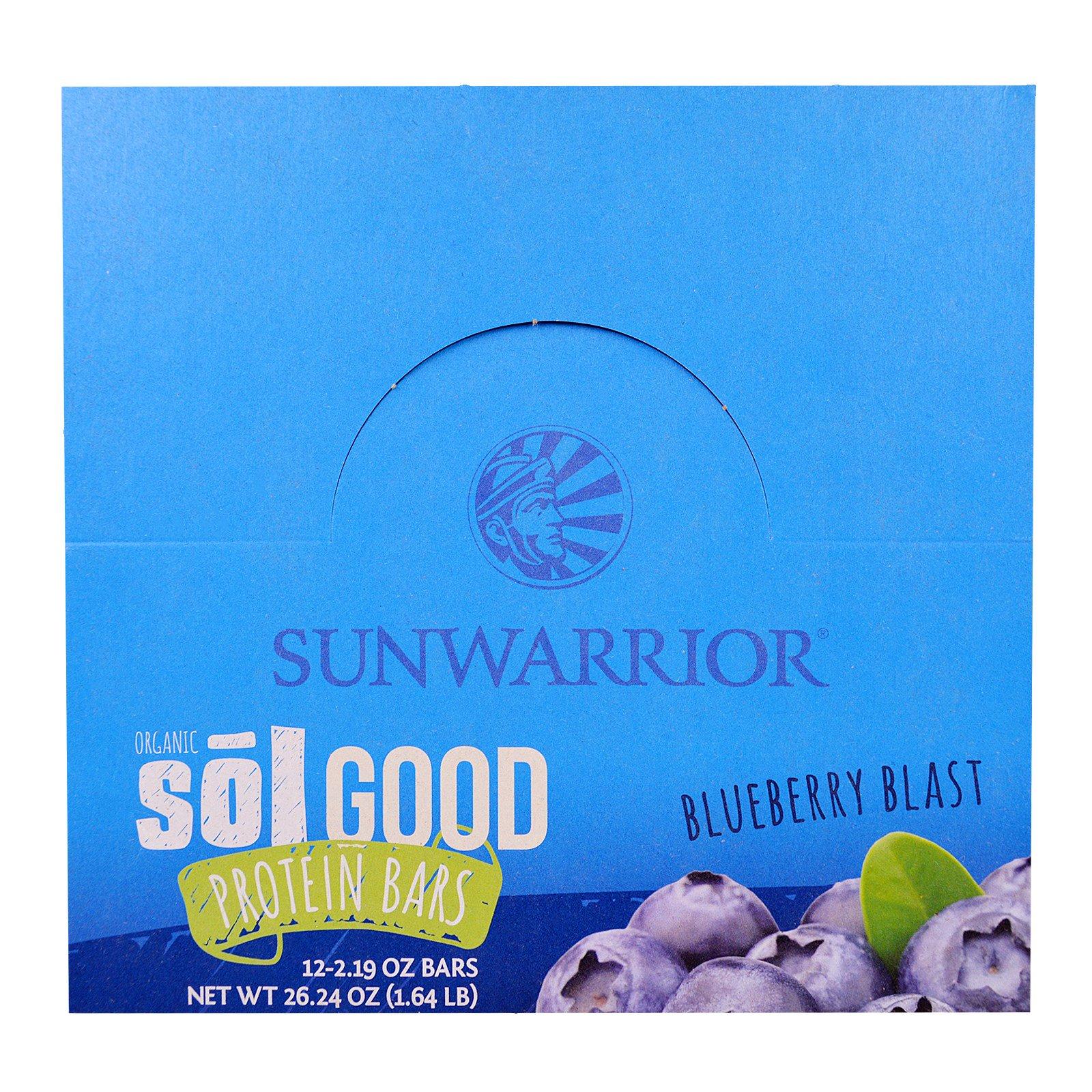 Sunwarrior, Organic Sol Good Protein Bars, Blueberry Blast, 12 Bars, 2.19 Oz