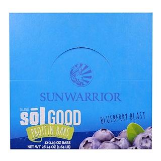 Sunwarrior, Sol Good, Barres protéinées bio, Myrtille, 12 barres, 2.19 oz pièce