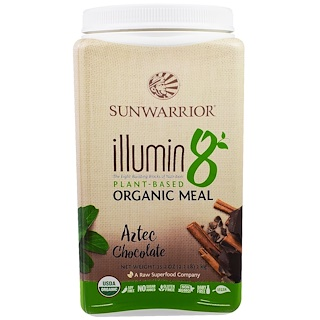 Sunwarrior, Illumin 8, Plant-Based Organic Meal, Aztec Chocolate, 35.2 oz (2.2 lb)