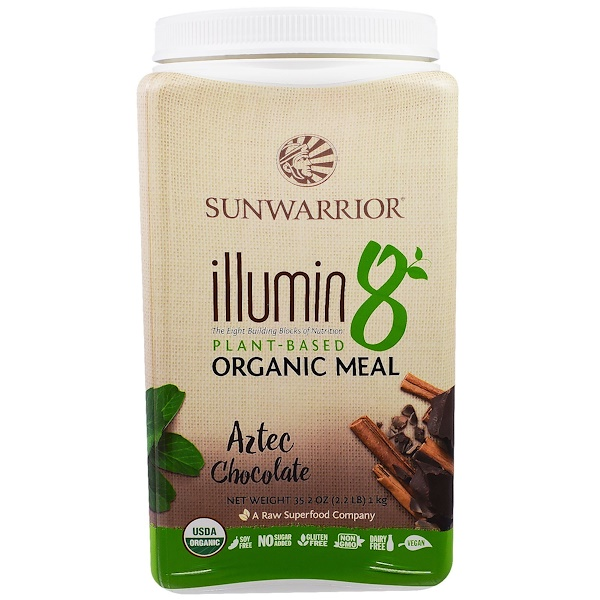 Sunwarrior, Illumin 8, Plant-Based Organic Meal, Aztec Chocolate, 35.2 oz (2.2 lb) (Discontinued Item)