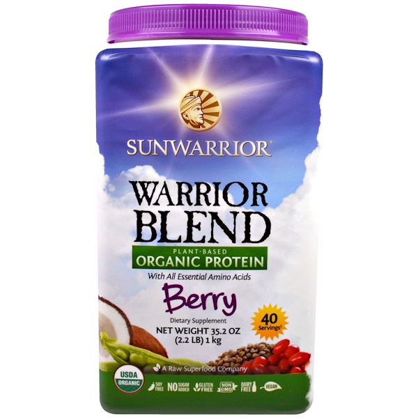 Sunwarrior, Warrior Blend, Plant-Based Organic Protein, Berry, 35.2 oz (2.2 lb) (Discontinued Item)
