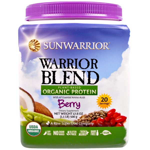 Sunwarrior, Warrior Blend, Plant-Based Organic Protein, Berry, 17.6 oz (500 g) (Discontinued Item)
