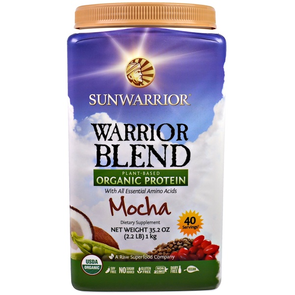 Sunwarrior, Warrior Blend, Plant-Based Organic Protein, Mocha, 35.2 oz (2.2 lb) (Discontinued Item)