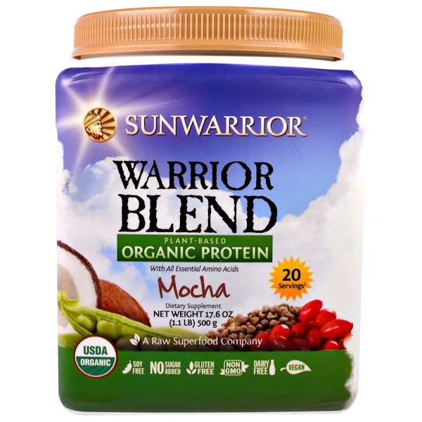 Sunwarrior, Warrior Blend, Plant-Based Organic Protein, Mocha, 17.6 oz (500 g) (Discontinued Item)