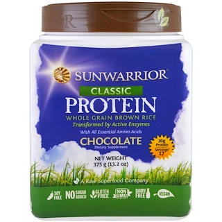 Sunwarrior, Classic Protein, Whole Grain Brown Rice, Chocolate, 13.2 oz (375 g)