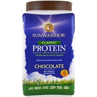 Sunwarrior, Classic Protein, Whole Grain Brown Rice, Chocolate , 1.65 lb (750 g)