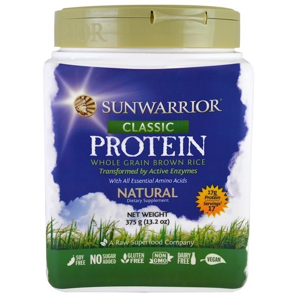 Sunwarrior, 經典蛋白質,全穀類糙米,天然,13、2盎司(375克)