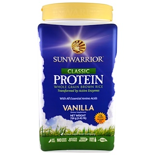 Sunwarrior, Classic Protein, Whole Grain Brown Rice, Vanilla , 1.65 lb (750 g)