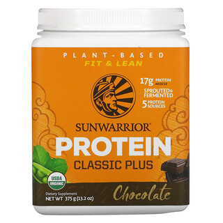 Sunwarrior, كلاسيك بلس بروتين، نباتي عضوي، بالشوكولاتة، 13.2 أوقية (375 جم)
