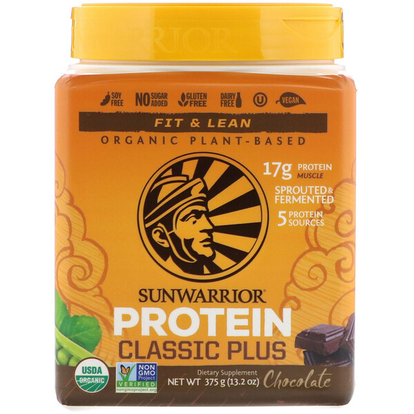 Classic Plus Protein, Organic Plant Based, Chocolate, 13.2 oz (375 g)