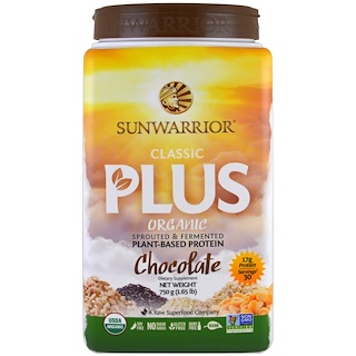Sunwarrior, Organic, Classic Plus, Chocolate, 1.65 lb (750 g)