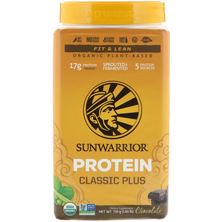 Sunwarrior, Classic Plus Protein, Organic Plant Based, Chocolate, 1.65 lb (750 g)
