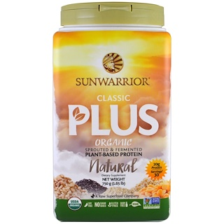 Sunwarrior, Organic, Classic Plus, Natural, 1.65 lb (750 g)