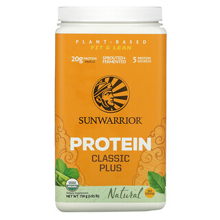 Sunwarrior, Protein Classic Plus, Plant Based, Natural, 1.65 lb (750 g)