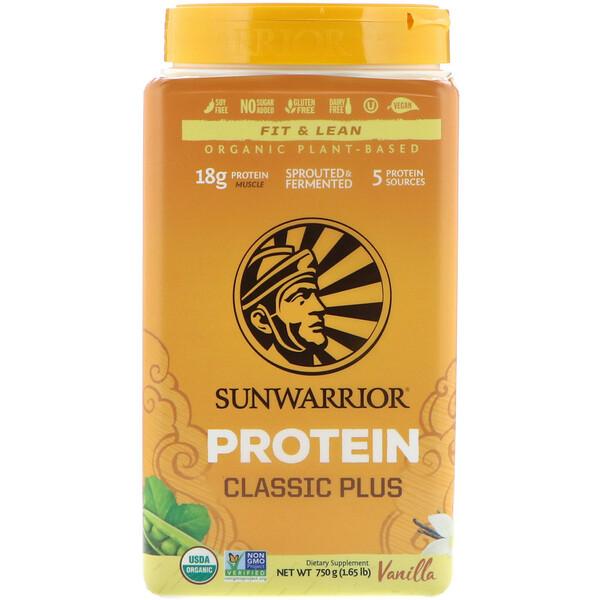 Sunwarrior, Протеин Classic Plus, на органической растительной основе, ваниль, 750 г (1,65 фунта)