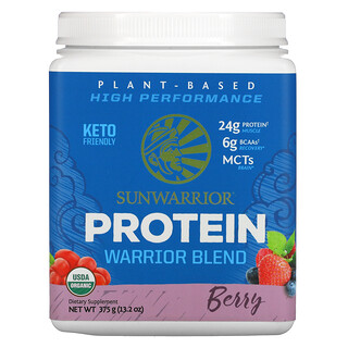 Sunwarrior, Proteína Warrior Blend, a base de plantas orgánicas, bayas, 13.2 oz (375 g)