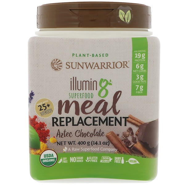 Sunwarrior, Illumin8, Plant-Based Organic Superfood Meal Replacement, Aztec Chocolate, 14.1 oz (400 g) (Discontinued Item)