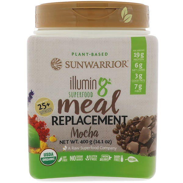 Sunwarrior, Illumin8, Plant-Based Organic Superfood Meal Replacement, Mocha, 14.1 oz (400 g) (Discontinued Item)