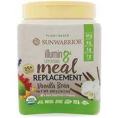 Sunwarrior, Illumin8, Plant-Based Organic Superfood Meal Replacement, Vanilla Bean, 14.1 oz (400 g)