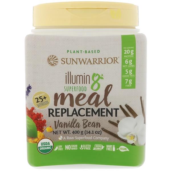 Sunwarrior, Illumin8,植物性有機超級食物代餐,香草豆,14、1盎司(400克)