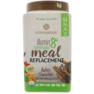 Sunwarrior, Illumin8, Plant-Based Organic Superfood Meal Replacement, Aztec Chocolate, 1.76 lb (800 g)