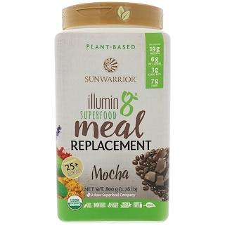 Sunwarrior, Illumin 8, Plant-Based Organic Superfood Meal Replacement, Mocha, 800 g (1.76 lbs)